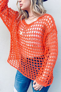 Mesh Spring Pullover Sweater Cover-Up